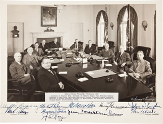 PRESIDENT HARRY S TRUMAN - AUTOGRAPHED SIGNED PHOTOGRAPH CO-SIGNED BY: VICE PRESIDENT ALBEN W. BARKLEY, CHARLES SAWYER, MAURICE J. TOBIN, DEAN ACHESON, JOHN W. SNYDER, JAMES FORRESTAL, JULIUS A. KRUG, ASSOCIATE JUSTICE TOM C. CLARK, CHARLES F. BRANNAN, JESSE M. DONALDSON