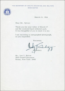 Autographs: ANTHONY J. CELEBREZZE - TYPED LETTER SIGNED 03/23/1964
