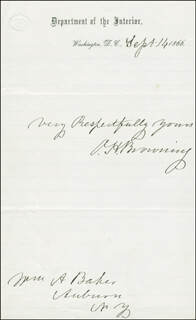 Autographs: ORVILLE H. BROWNING - AUTOGRAPH SENTIMENT SIGNED 09/14/1866