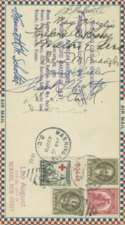 AMELIA M. EARHART - COMMEMORATIVE ENVELOPE SIGNED CIRCA 1932 CO-SIGNED BY: WALTER E. LEES, JAMES H. STICKLER, MARY MAY/MAE HAIZLIP, FREDERICK A. BROSSY, BRIGADIER GENERAL JAMES H. JIMMY DOOLITTLE, KENNETH W. SCHOLTER, H. LLOYD CHILD, COLONEL FRANK ALLEN KURTZ, EDNA M. RANDOLPH