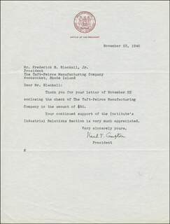 KARL T. COMPTON - TYPED LETTER SIGNED