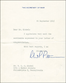 ROBERT P. PATTERSON - TYPED LETTER SIGNED 09/26/1945