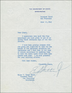 EDWARD R. STETTINIUS, JR. - TYPED LETTER SIGNED 06/23/1945