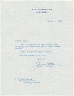Autographs: ASSOCIATE JUSTICE JAMES F. BYRNES - TYPED LETTER SIGNED 02/15/1946