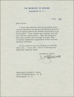 Autographs: GENERAL GEORGE C. MARSHALL - TYPED LETTER SIGNED 02/05/1951