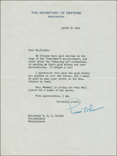 LOUIS A. JOHNSON - TYPED LETTER SIGNED 04/20/1949