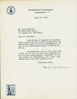 Autographs: VICE PRESIDENT HENRY A. WALLACE - TYPED LETTER SIGNED 04/20/1945