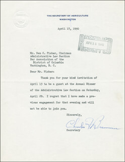Autographs: CHARLES F. BRANNAN - TYPED LETTER SIGNED 04/17/1950