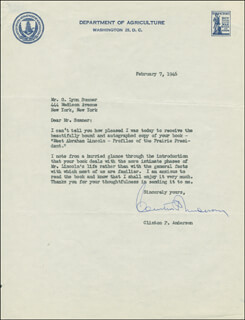 Autographs: CLINTON P. ANDERSON - TYPED LETTER SIGNED 02/07/1946