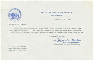 Autographs: HAROLD L. ICKES - TYPED LETTER SIGNED 02/08/1946