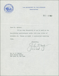 Autographs: JULIUS A. KRUG - TYPED LETTER SIGNED 12/04/1947