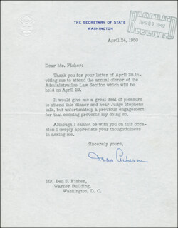 Autographs: DEAN ACHESON - TYPED LETTER SIGNED 04/24/1950