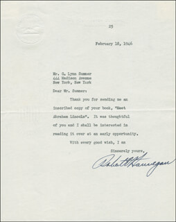 ROBERT E. HANNEGAN - TYPED LETTER SIGNED 02/18/1946