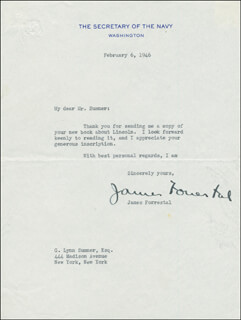 Autographs: JAMES FORRESTAL - TYPED LETTER SIGNED 02/06/1946