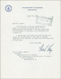 Autographs: CHARLES SAWYER - TYPED LETTER SIGNED 04/17/1950