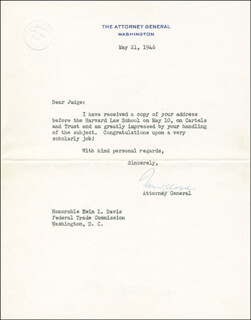 Autographs: ASSOCIATE JUSTICE TOM C. CLARK - TYPED LETTER SIGNED 05/21/1946