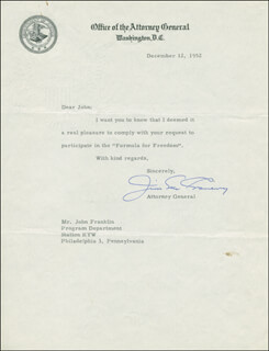 Autographs: JAMES P. MCGRANERY - TYPED LETTER SIGNED 12/12/1952