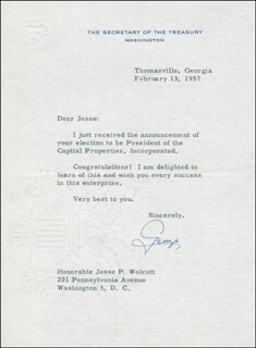 Autographs: GEORGE M. HUMPHREY - TYPED LETTER SIGNED 02/13/1957