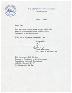 Autographs: FREDERICK A. SEATON - TYPED LETTER SIGNED 06/07/1960