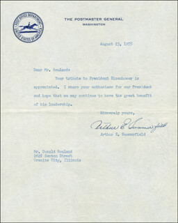 Autographs: ARTHUR E. SUMMERFIELD - TYPED LETTER SIGNED 08/23/1955