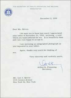 Autographs: ARTHUR S. FLEMMING - TYPED LETTER SIGNED 12/02/1959