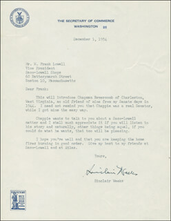 Autographs: SINCLAIR WEEKS - TYPED LETTER SIGNED 12/01/1954