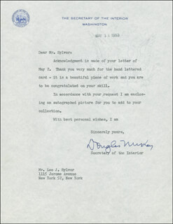 DOUGLAS McKAY - TYPED LETTER SIGNED 05/11/1953