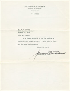 Autographs: JAMES P. MITCHELL - TYPED LETTER SIGNED 10/13/1958