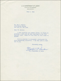 Autographs: MARTIN P. DURKIN - TYPED LETTER SIGNED 06/03/1953