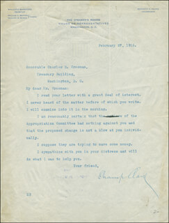 JAMES B. CHAMP CLARK - TYPED LETTER SIGNED 02/27/1916