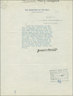 Autographs: JOSEPHUS DANIELS - TYPED QUOTATION SIGNED CIRCA 1920