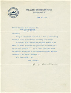 Autographs: ALBERT S. BURLESON - TYPED LETTER SIGNED 06/26/1915