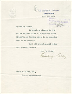 Autographs: BAINBRIDGE COLBY - TYPED LETTER SIGNED 04/27/1920