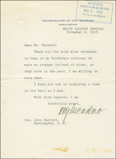 Autographs: WILLIAM G. McADOO - TYPED LETTER SIGNED 11/02/1917