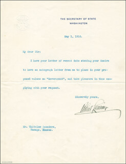 ROBERT LANSING - TYPED LETTER SIGNED 05/01/1916