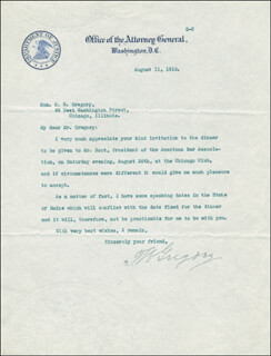 Autographs: THOMAS W. GREGORY - TYPED LETTER SIGNED 08/11/1916