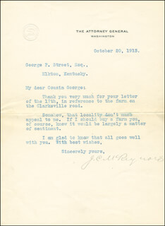 ASSOCIATE JUSTICE JAMES C. MCREYNOLDS - TYPED LETTER SIGNED 10/20/1913
