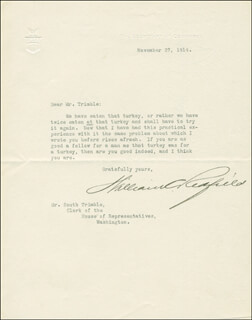 WILLIAM C. REDFIELD - TYPED LETTER SIGNED 11/27/1914