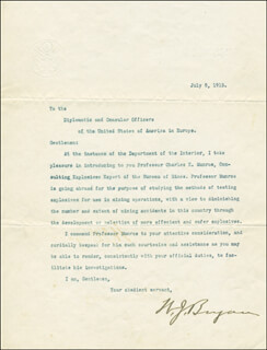 Autographs: WILLIAM JENNINGS BRYAN - TYPED LETTER SIGNED 07/08/1913