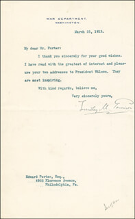 Autographs: LINDLEY M. GARRISON - TYPED LETTER SIGNED 03/25/1913