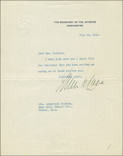 Autographs: FRANKLIN K. LANE - TYPED LETTER SIGNED 07/25/1919