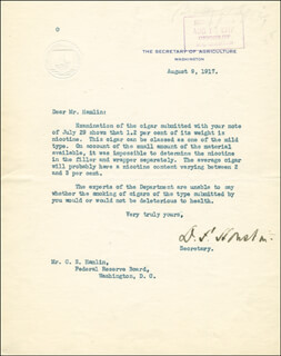 Autographs: DAVID F. HOUSTON - TYPED LETTER SIGNED 08/09/1917