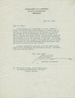 Autographs: JOSHUA W. ALEXANDER - TYPED LETTER SIGNED 04/24/1920