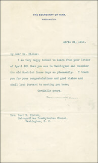 Autographs: NEWTON D. BAKER - TYPED LETTER SIGNED 04/24/1916