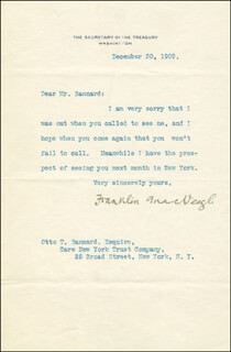 FRANKLIN MacVEAGH - AUTOGRAPH LETTER SIGNED 12/20/1909