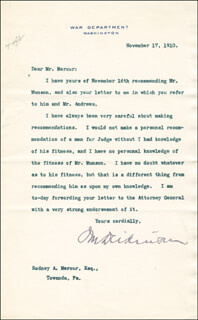 Autographs: JACOB M. DICKINSON - TYPED LETTER SIGNED 11/17/1910
