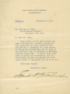 FRANK H. HITCHCOCK - TYPED LETTER SIGNED 02/05/1912