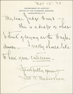 Autographs: GEORGE W. WICKERSHAM - AUTOGRAPH LETTER SIGNED 11/15/1910