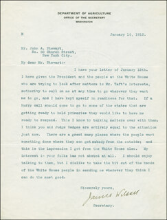 Autographs: JAMES WILSON - TYPED LETTER SIGNED 01/15/1912