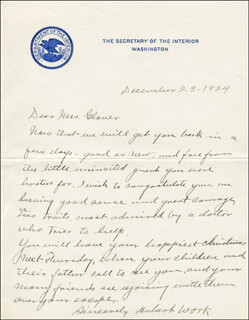 HUBERT WORK - AUTOGRAPH LETTER SIGNED 12/23/1924